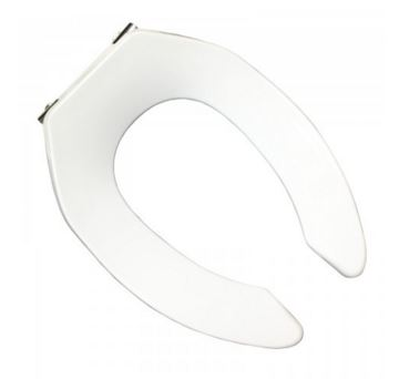 COMMERCIAL OPEN FRONT ELONGATED TOILET SEAT NO LID WITH STAINLESS