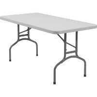 FOLDING RECTANGULAR TABLE, GRAY MOLDED PLASTIC