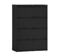 "36"" LATERAL FILE CABINET - 4 DRAWER, FULL PULL, BLACK"